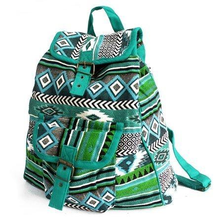 Jacquard Taschen - Blaugrüner Rucksack