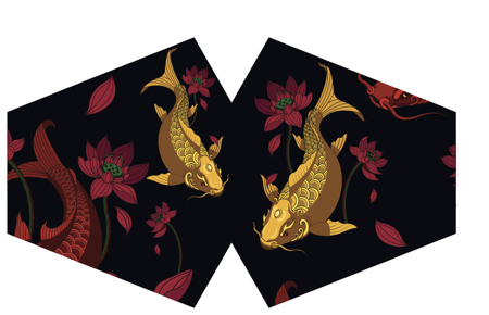 Modische Schutzmaske - Goldener Fisch