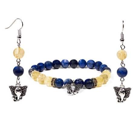 Schmuckset Armband Ohrringe Lapis Lazuli Rutilquarz mit Ganesha