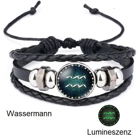 Wassermann - Lumineszenz Armband mit Sternzeichen
